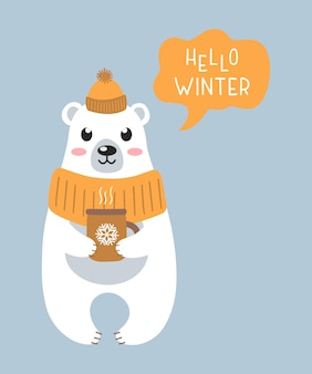 Cute white polar bear in a warm hat with a cup of hot tea on blue background