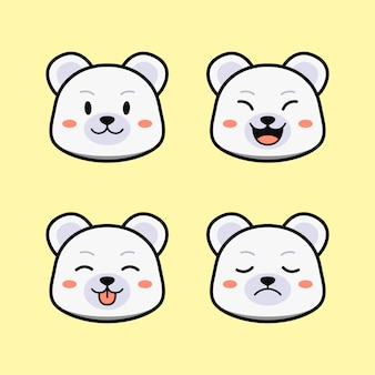 Cute white polar bear with face expression animal set