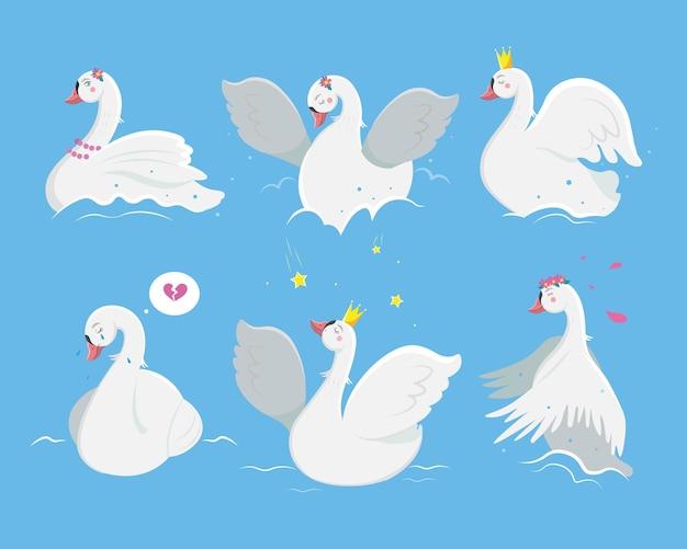 Cute white princess swan set
