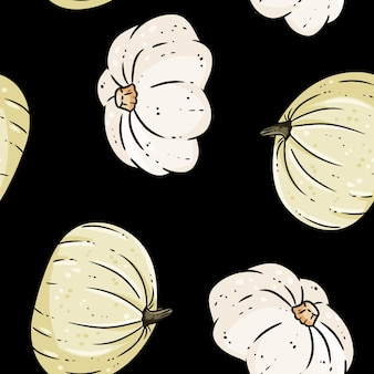Cute white pumpkins cartoon seamless pattern. fall decoration black background texture tile