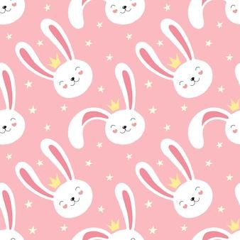 Милый белый кролик, кролик, бесшовные модели, маленькая принцесса.