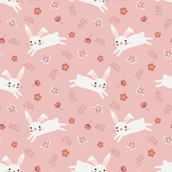 Cute white rabbit and flower seamless pattern.