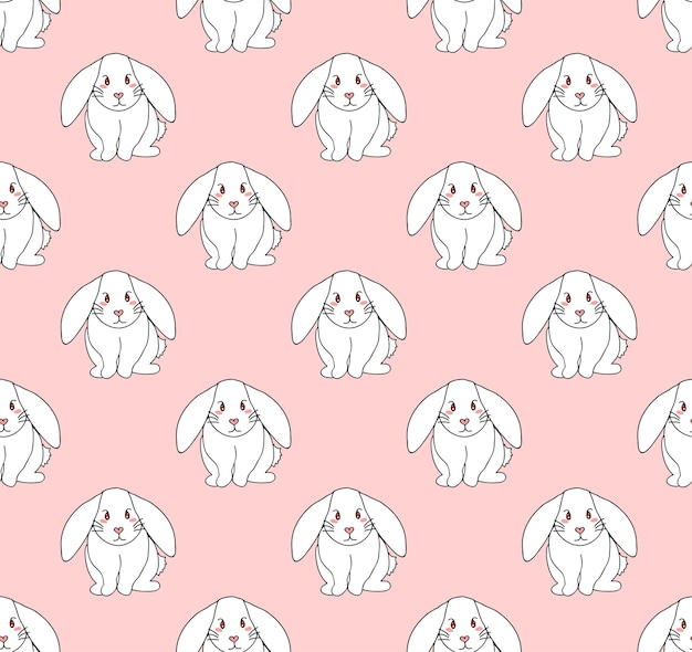 Cute white rabbit on light pink background