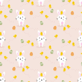 Cute white rabbit, little chick and easter eggs seamless pattern.