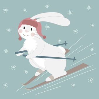 Cute white rabbit in a red hat skiing.cartoon character  illustration.