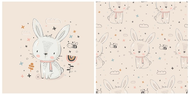 Cute white rabbithand drawn vector illustrationcan be used for kids or babys shirt design