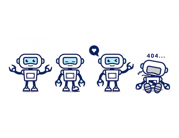 Cute white robot ai character mascot simple pose set