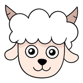 かわいい白い羊の動物の頭、ベクトルイラストカートン絵文字。落書きアイコンの描画