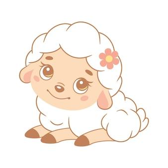 Cute white sheep lies. cartoon vector illustration