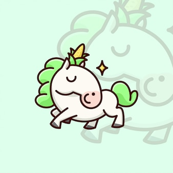 Cute white unicon with green hair and a corn on head