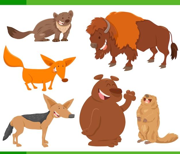귀여운 야생 동물 캐릭터 세트