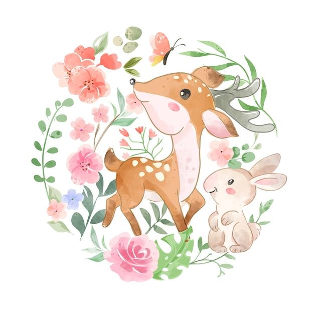 かわいい野生動物と円形の花のイラスト
