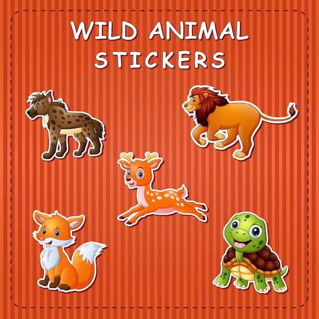 스티커에 귀여운 야생 동물 만화