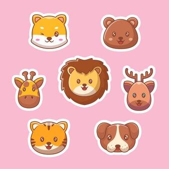 귀여운 야생 동물 만화 스티커 컬렉션