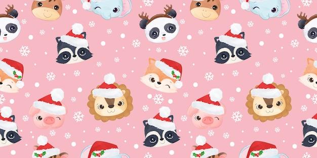 クリスマスのパターンを祝うかわいい野生動物