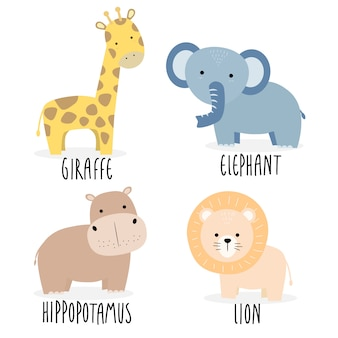 Cute wild animals character cartoon design element