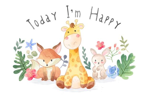 かわいい野生動物の友情と幸せなスローガンイラスト