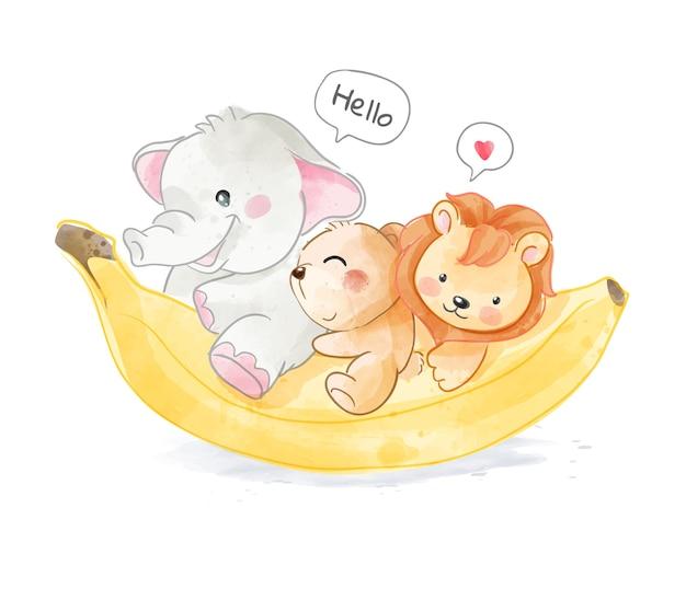 바나나 일러스트와 함께 귀여운 야생 동물 우정