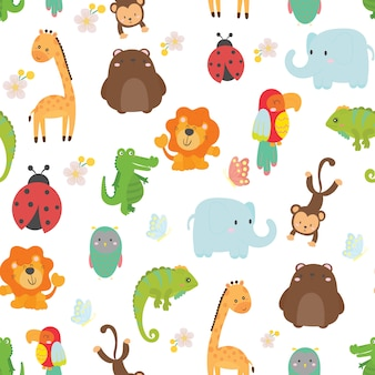 Cute wild animals seamless pattern background vector.
