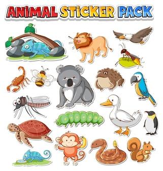 Cute wild animals sticker pack isolated