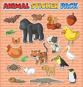 귀여운 야생 동물 스티커 팩 절연