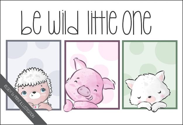 シームレスなパターンを持つかわいい野生の赤ちゃん動物