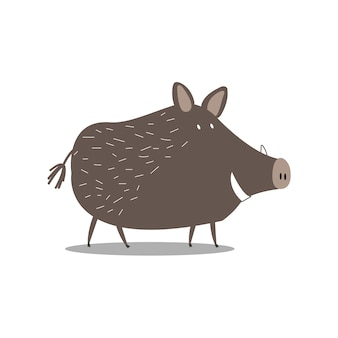 Cute wild boar cartoon illustration
