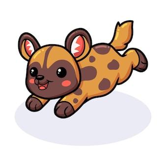 Мультфильм милая дикая собака прыгает