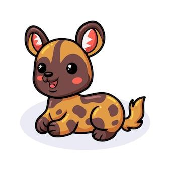 Мультфильм милый дикая собака лежа