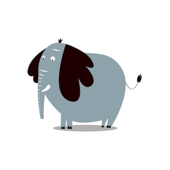 Cute wild elephant cartoon illustration