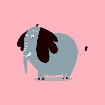 Cute wild elephant cartoon illustration