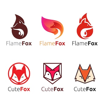 Cute wild flame fox head logo set