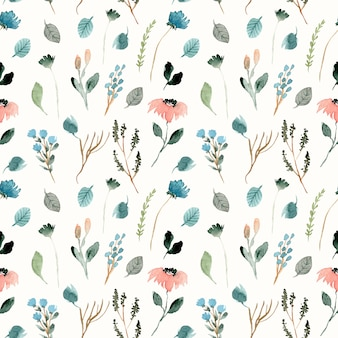 Cute wild floral watercolor seamless pattern