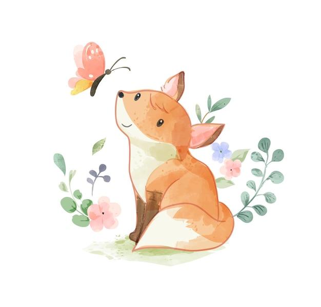 Милая дикая лиса, глядя на иллюстрацию бабочки