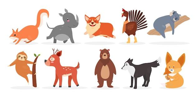 Cute wild furry animal farm bird and pet set rhino squirrel dog rooster deer bear fox