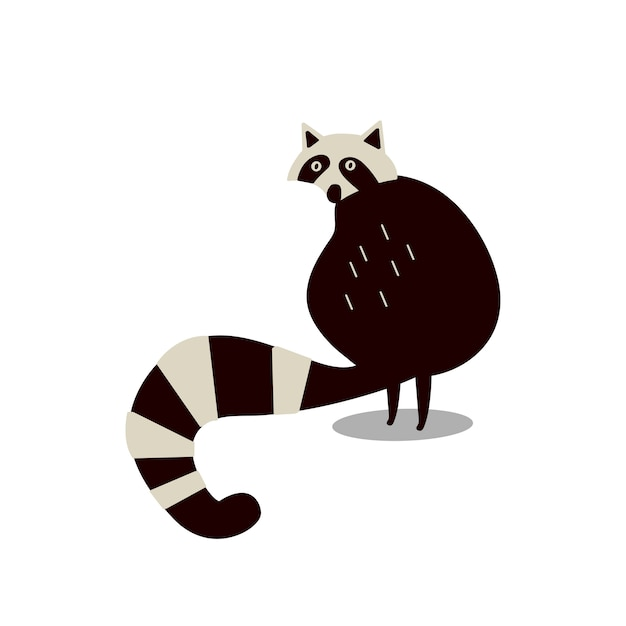 Cute wild raccoon cartoon illustration