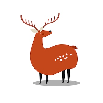 Cute wild spotted deer cartoon illustration