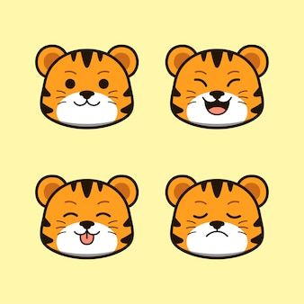 Cute wild tiger with expression animal set