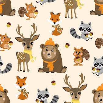 Cute wildlife animal in autumn seamless pattern