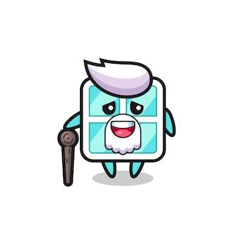Cute window grandpa is holding a stick , cute style design for t shirt, sticker, logo element