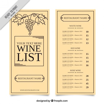 Cute wine list with a bunch of grapes