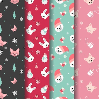 Cute winter animal head pattern