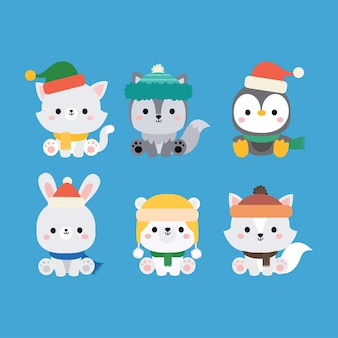Cute winter animal merry christmas