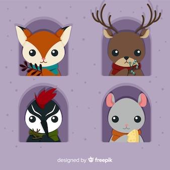 Cute winter animal pack