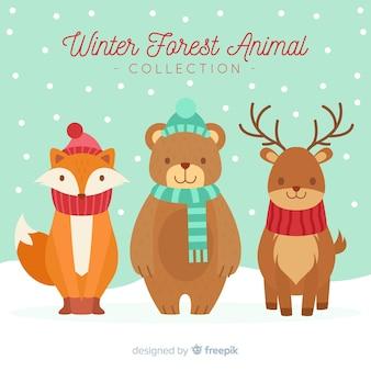 Cute winter animals background