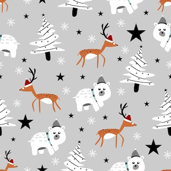 Cute winter animals seamless pattern with reindeer and beer