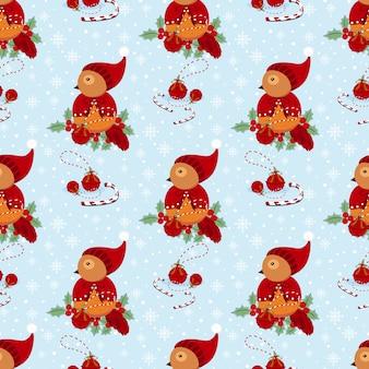 Cute winter bird seamless pattern