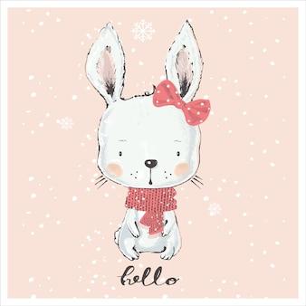 Милый зимний кролик девочка рисованной векторные иллюстрации мультфильм рисованной векторные иллюстрации