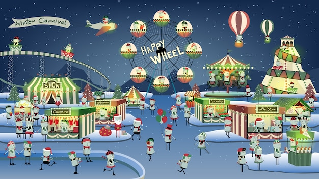 Cute winter carnival cartoon on night.