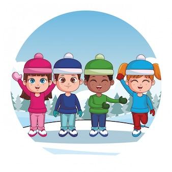 Cute winter children cartoon